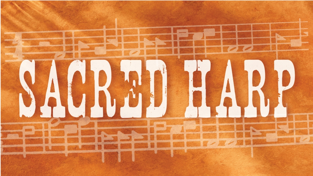 Sacred Harp notation and text over orange leather background
