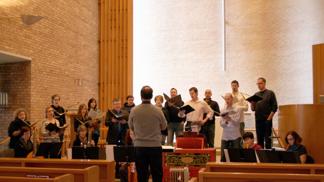 Gary Wolfman conducts the Elm Ensemble at Christ Church Lutheran in November 2013.