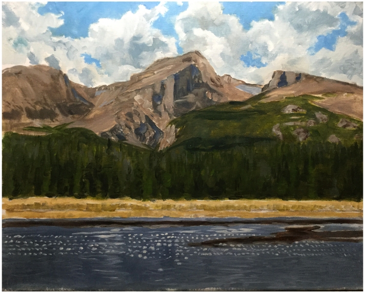 """Hallett Peak in Rocky Mountain National Park"" by Stephen Glowacki (stephenglowackifineart.com). Oil on canvas."