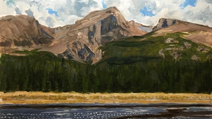 """Hallett Peak in Rocky Mountain National Park"" by Stephen Glowacki (stephenglowackifineart.com). Oil on canvas."