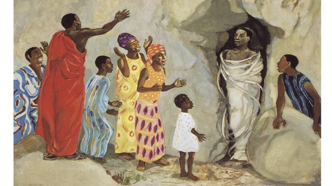 JESUS MAFA. Jesus raises Lazarus to life, from Art in the Christian Tradition, a project of the Vanderbilt Divinity Library, Nashville, TN.